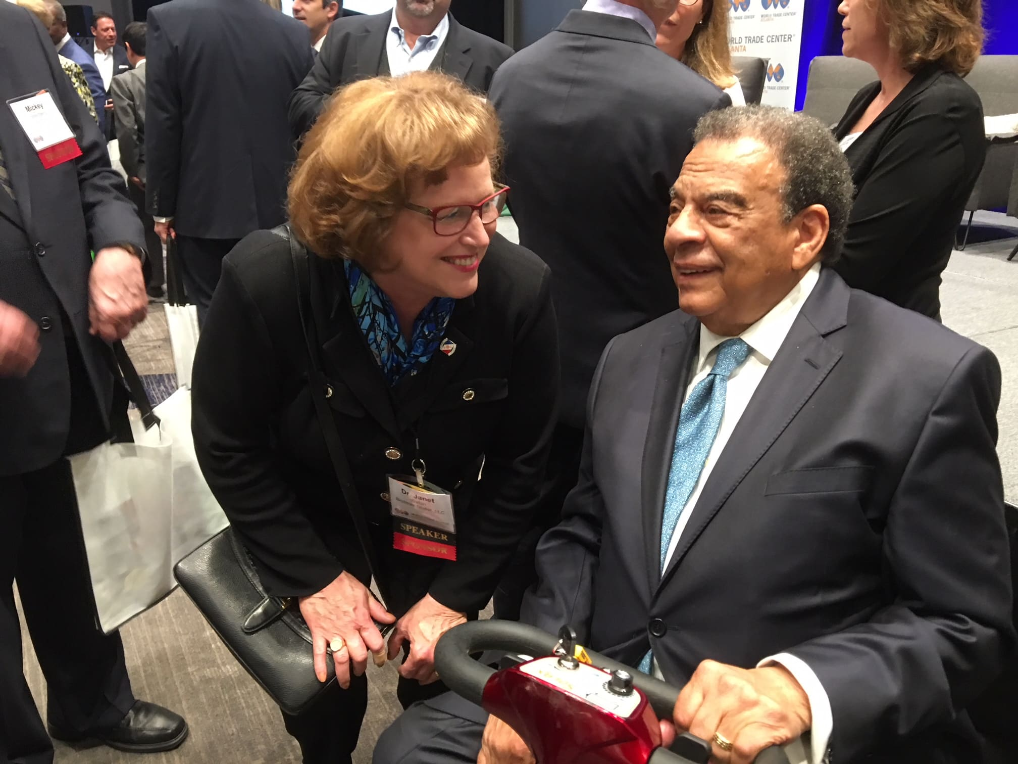 Janet Young talking to Andrew Young