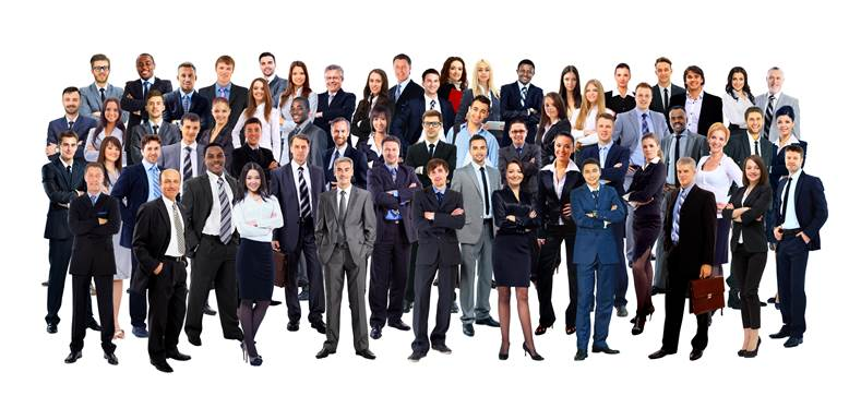 Crowd of men and women dressed in business attire